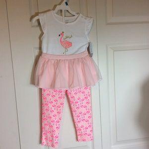 Carter's 2 Piece Flamingo Lace Skirt Pants Sz 24 M